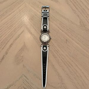 BRIGHTON silver watch with black and white band